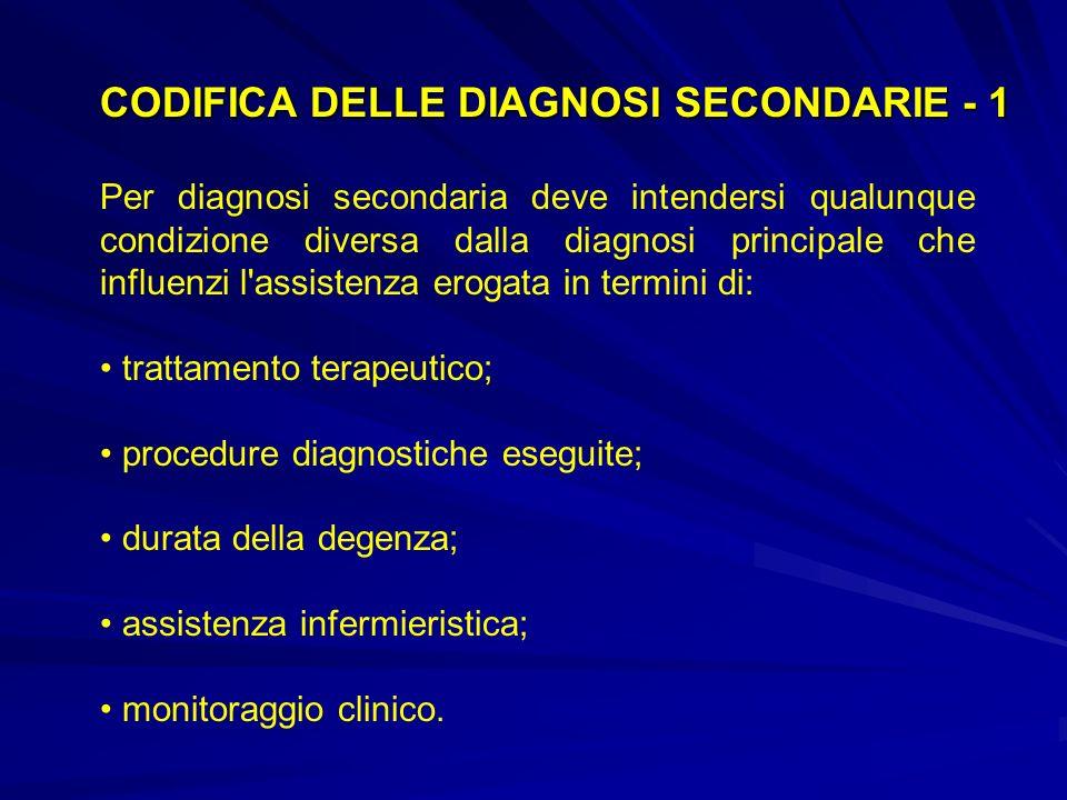Per diagnosi secondaria deve intendersi qualunque condizione diversa dalla diagnosi principale che influenzi l assistenza erogata in termini di: trattamento terapeutico; procedure diagnostiche eseguite; durata della degenza; assistenza infermieristica; monitoraggio clinico.