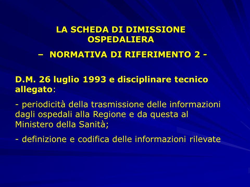 LA SCHEDA DI DIMISSIONE OSPEDALIERA – NORMATIVA DI RIFERIMENTO 1 - – NORMATIVA DI RIFERIMENTO 1 - D.M. 28 dicembre 1991 -istituzione della scheda di d