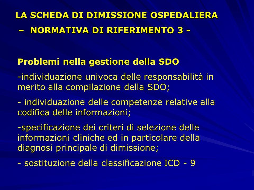 Problemi nella gestione della SDO -individuazione univoca delle responsabilità in merito alla compilazione della SDO; - individuazione delle competenze relative alla codifica delle informazioni; -specificazione dei criteri di selezione delle informazioni cliniche ed in particolare della diagnosi principale di dimissione; - sostituzione della classificazione ICD - 9 LA SCHEDA DI DIMISSIONE OSPEDALIERA – NORMATIVA DI RIFERIMENTO 3 - – NORMATIVA DI RIFERIMENTO 3 -