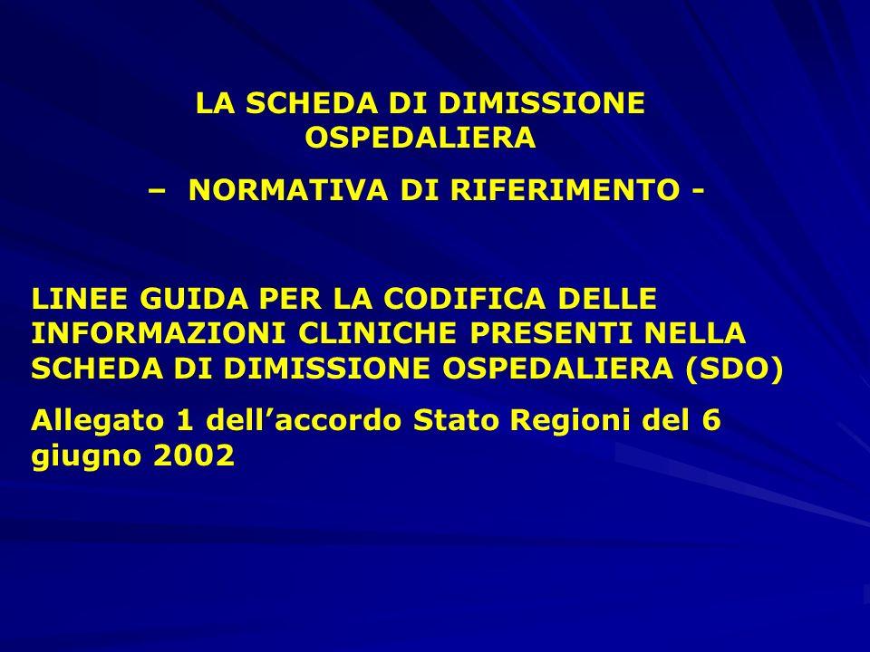 LA SCHEDA DI DIMISSIONE OSPEDALIERA – NORMATIVA DI RIFERIMENTO - LINEE GUIDA PER LA CODIFICA DELLE INFORMAZIONI CLINICHE PRESENTI NELLA SCHEDA DI DIMISSIONE OSPEDALIERA (SDO) Allegato 1 dellaccordo Stato Regioni del 6 giugno 2002