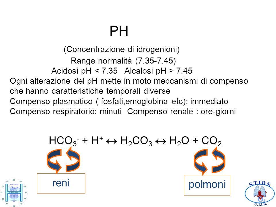 PH (Concentrazione di idrogenioni) Range normalità (7.35-7.45) Acidosi pH 7.45 Ogni alterazione del pH mette in moto meccanismi di compenso che hanno