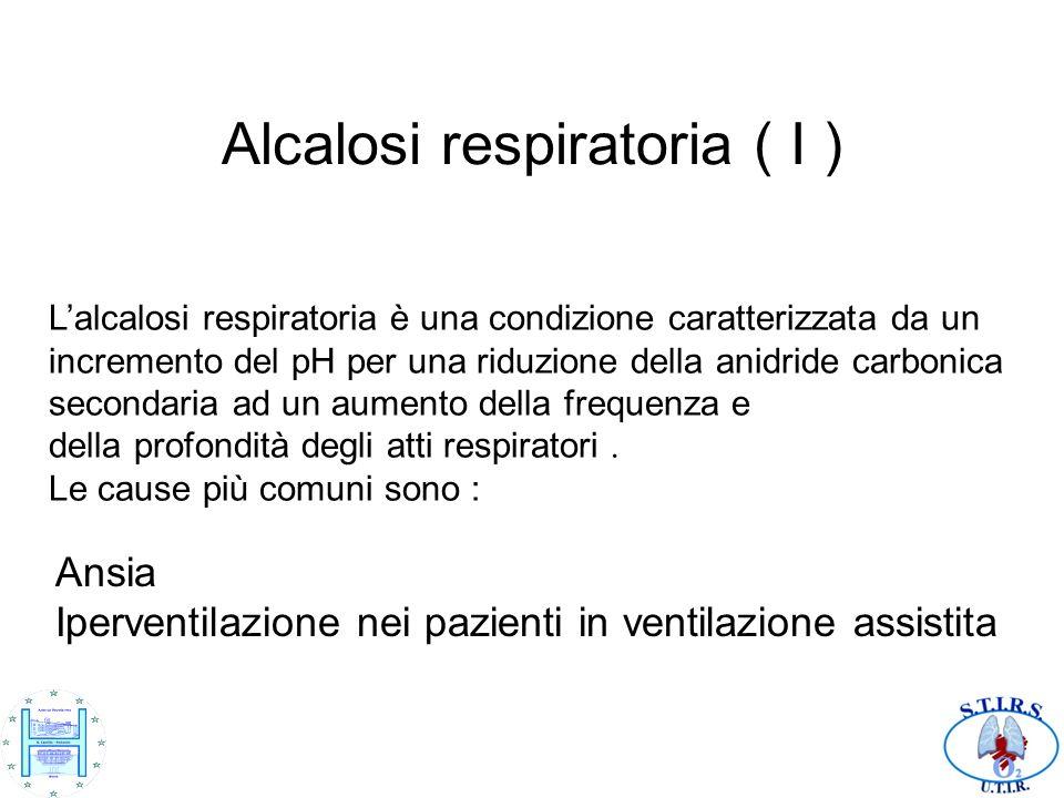 Alcalosi respiratoria ( I ) Lalcalosi respiratoria è una condizione caratterizzata da un incremento del pH per una riduzione della anidride carbonica