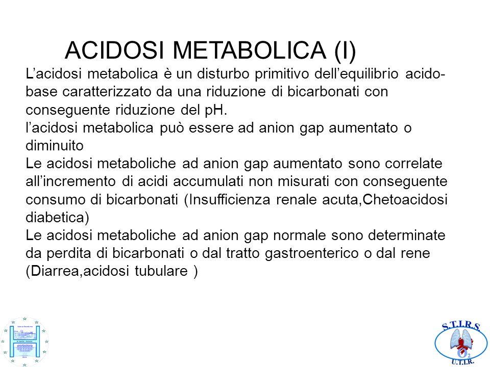 ACIDOSI METABOLICA (I) Lacidosi metabolica è un disturbo primitivo dellequilibrio acido- base caratterizzato da una riduzione di bicarbonati con conse
