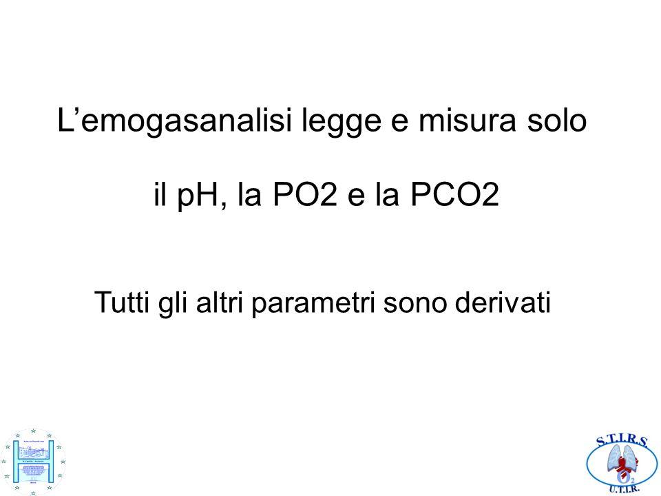 Lemogasanalisi legge e misura solo il pH, la PO2 e la PCO2 Tutti gli altri parametri sono derivati