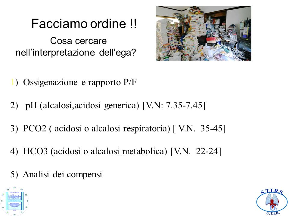 Facciamo ordine !! 1) Ossigenazione e rapporto P/F 2) pH (alcalosi,acidosi generica) [V.N: 7.35-7.45] 3) PCO2 ( acidosi o alcalosi respiratoria) [ V.N