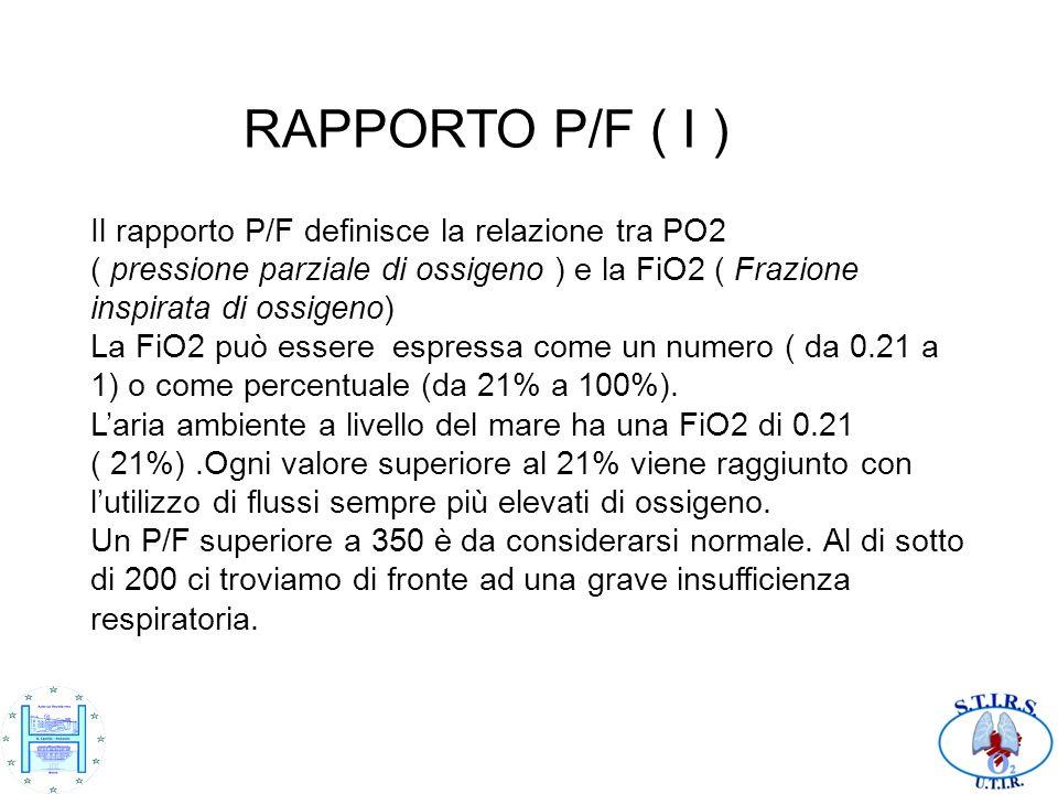 RAPPORTO P/F ( I ) Il rapporto P/F definisce la relazione tra PO2 ( pressione parziale di ossigeno ) e la FiO2 ( Frazione inspirata di ossigeno) La Fi
