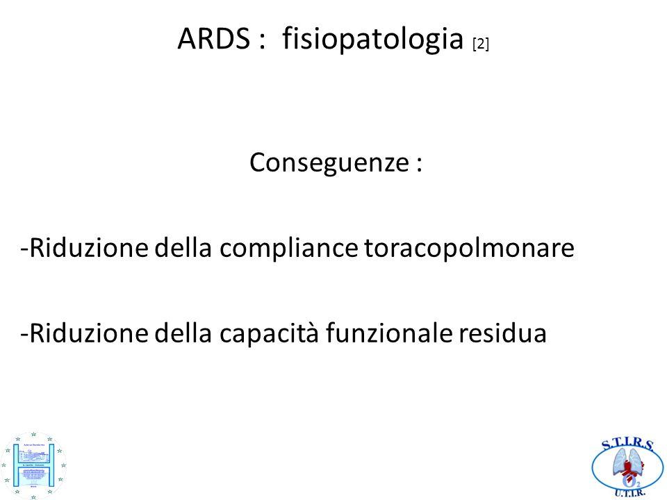 ARDS : fisiopatologia [2] Conseguenze : -Riduzione della compliance toracopolmonare -Riduzione della capacità funzionale residua