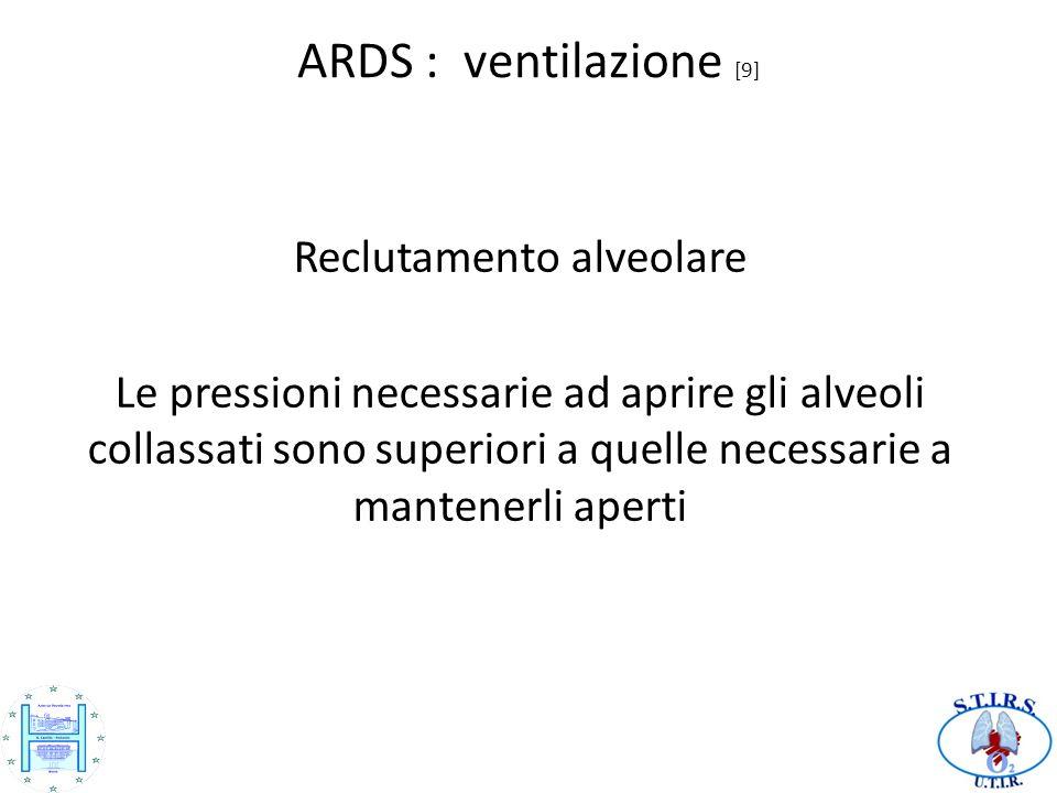 ARDS : ventilazione [9] Reclutamento alveolare Le pressioni necessarie ad aprire gli alveoli collassati sono superiori a quelle necessarie a mantenerli aperti