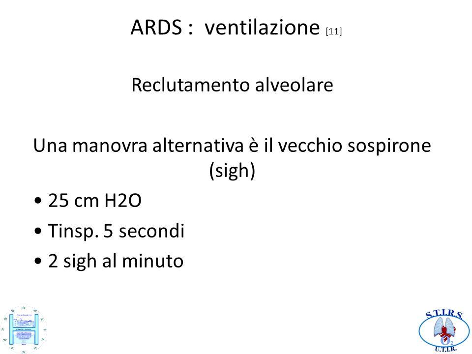 ARDS : ventilazione [11] Reclutamento alveolare Una manovra alternativa è il vecchio sospirone (sigh) 25 cm H2O Tinsp.