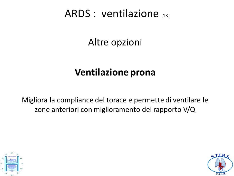 ARDS : ventilazione [13] Altre opzioni Ventilazione prona Migliora la compliance del torace e permette di ventilare le zone anteriori con miglioramento del rapporto V/Q