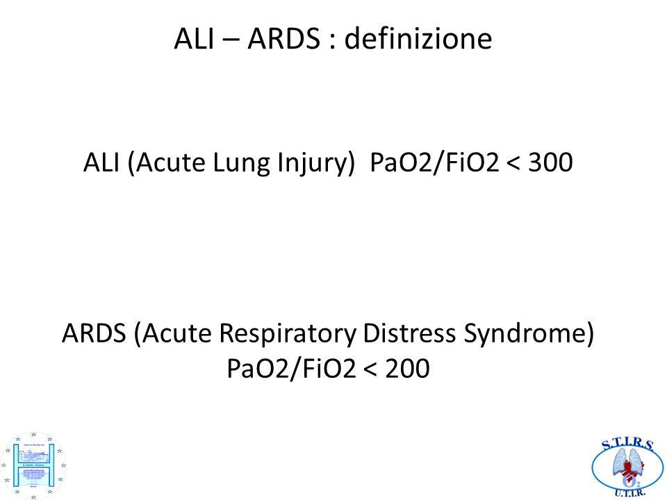 ALI – ARDS : definizione ALI (Acute Lung Injury) PaO2/FiO2 < 300 ARDS (Acute Respiratory Distress Syndrome) PaO2/FiO2 < 200