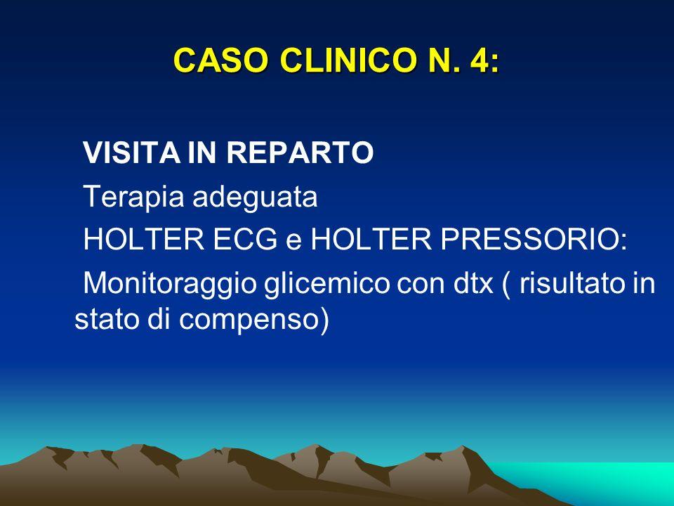 CASO CLINICO N. 4: VISITA IN REPARTO Terapia adeguata HOLTER ECG e HOLTER PRESSORIO: Monitoraggio glicemico con dtx ( risultato in stato di compenso)