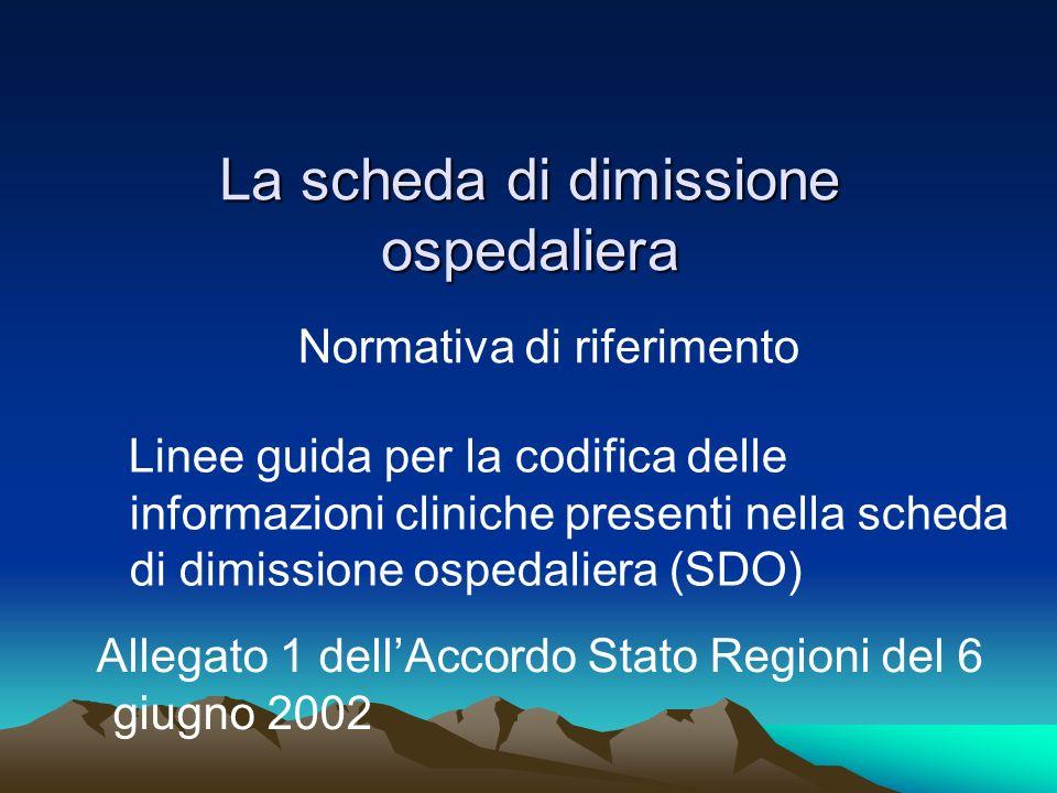 La scheda di dimissione ospedaliera Normativa di riferimento Linee guida per la codifica delle informazioni cliniche presenti nella scheda di dimissio