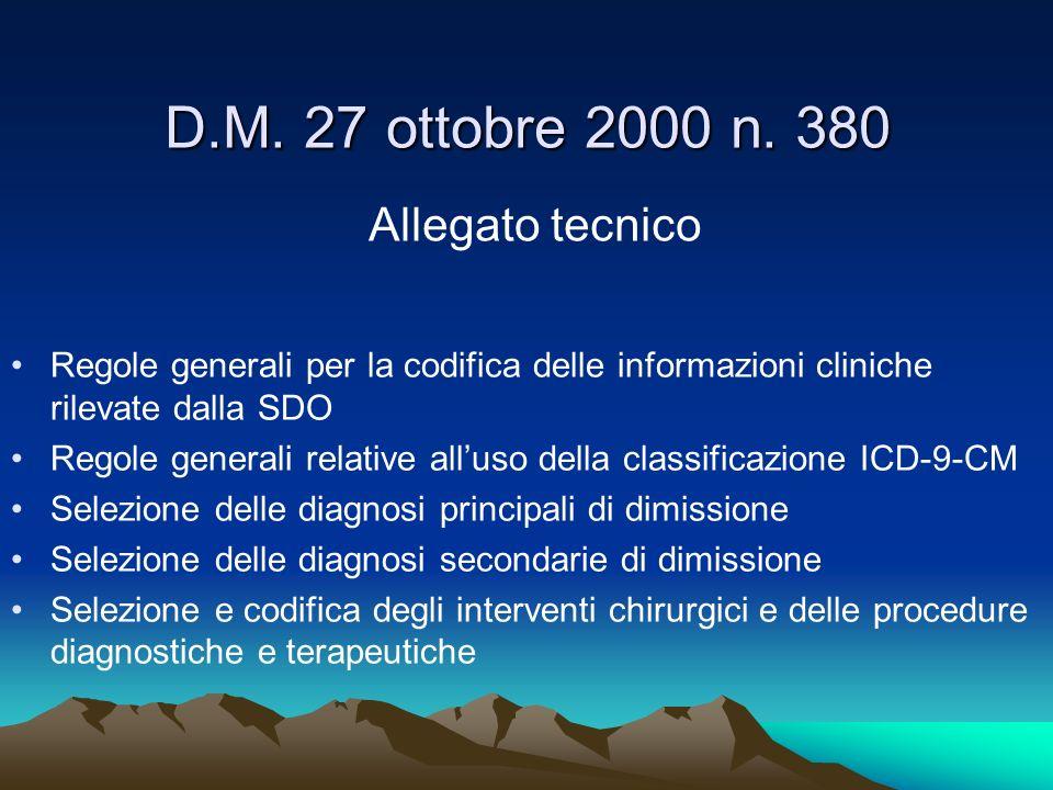 D.M. 27 ottobre 2000 n. 380 Allegato tecnico Regole generali per la codifica delle informazioni cliniche rilevate dalla SDO Regole generali relative a