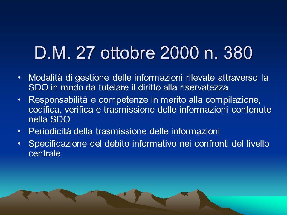 Modalità di gestione delle informazioni rilevate attraverso la SDO in modo da tutelare il diritto alla riservatezza Responsabilità e competenze in mer
