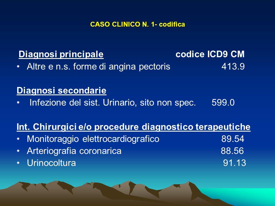 CASO CLINICO N. 1- codifica Diagnosi principale codice ICD9 CM Altre e n.s. forme di angina pectoris 413.9 Diagnosi secondarie Infezione del sist. Uri
