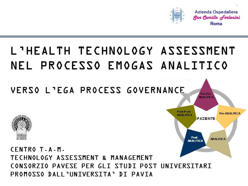 2 LHEALTH TECHNOLOGY ASSESSMENT NEL PROCESSO EMOGAS ANALITICO VERSO LEGA PROCESS GOVERNANCE CENTRO T.A.M. TECHNOLOGY ASSESSMENT & MANAGEMENT CONSORZIO