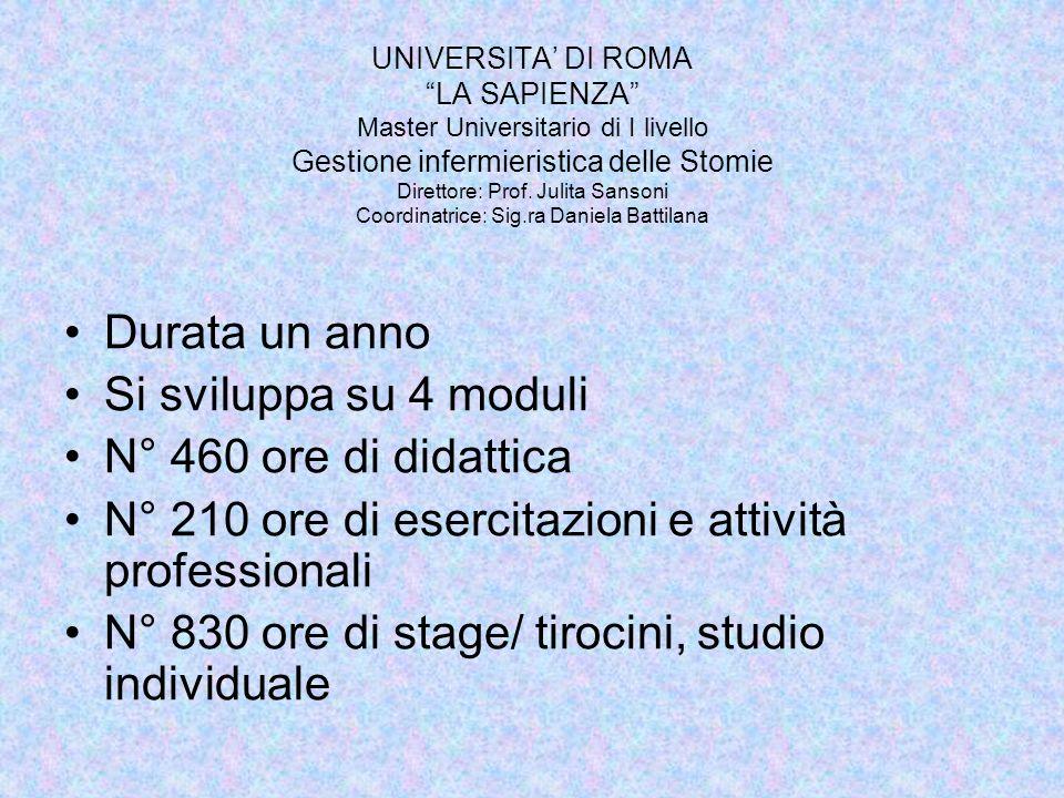 UNIVERSITA DI ROMA LA SAPIENZA Master Universitario di I livello Gestione infermieristica delle Stomie Direttore: Prof. Julita Sansoni Coordinatrice: