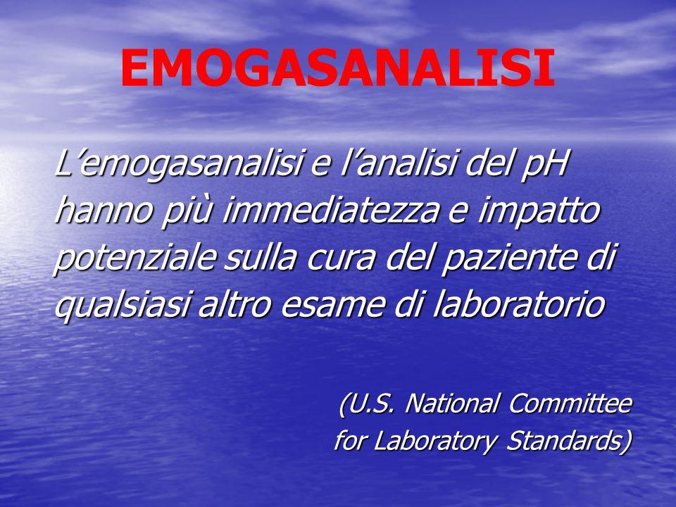 EMOGASANALISI Lemogasanalisi e lanalisi del pH hanno più immediatezza e impatto potenziale sulla cura del paziente di qualsiasi altro esame di laborat