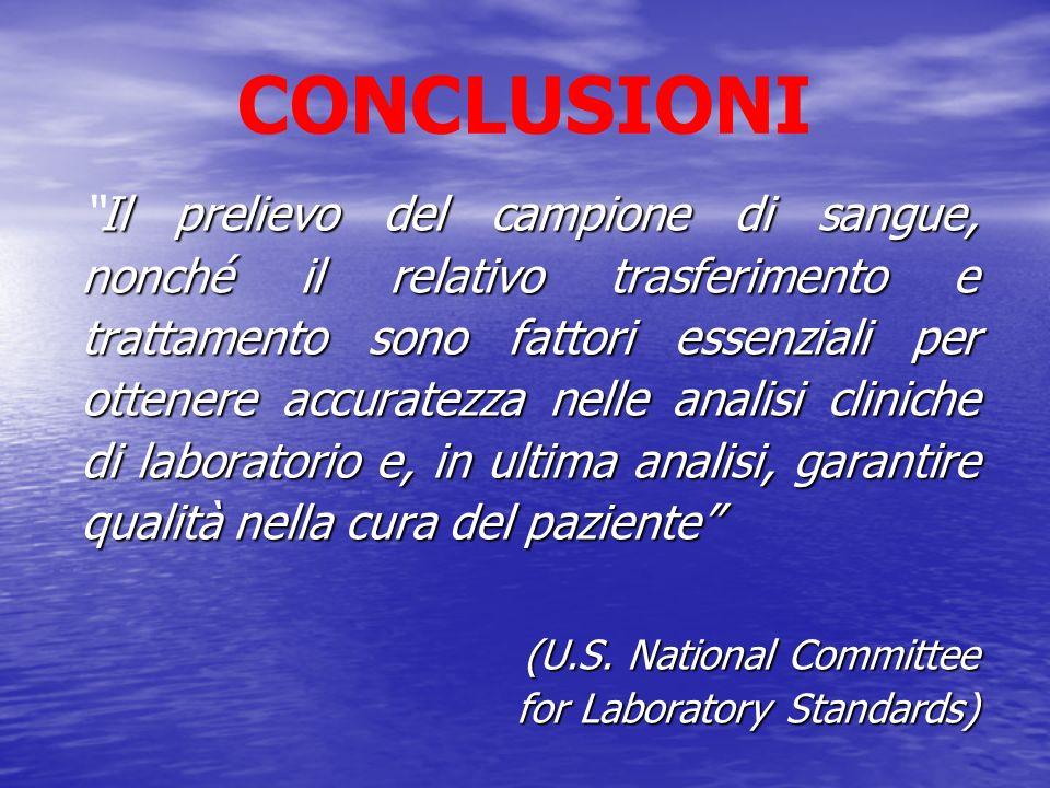 CONCLUSIONI Nellanalisi dei gas ematici e del pH spesso, per il paziente, è molto peggio avere un risultato errato che non averne affatto (U.S.
