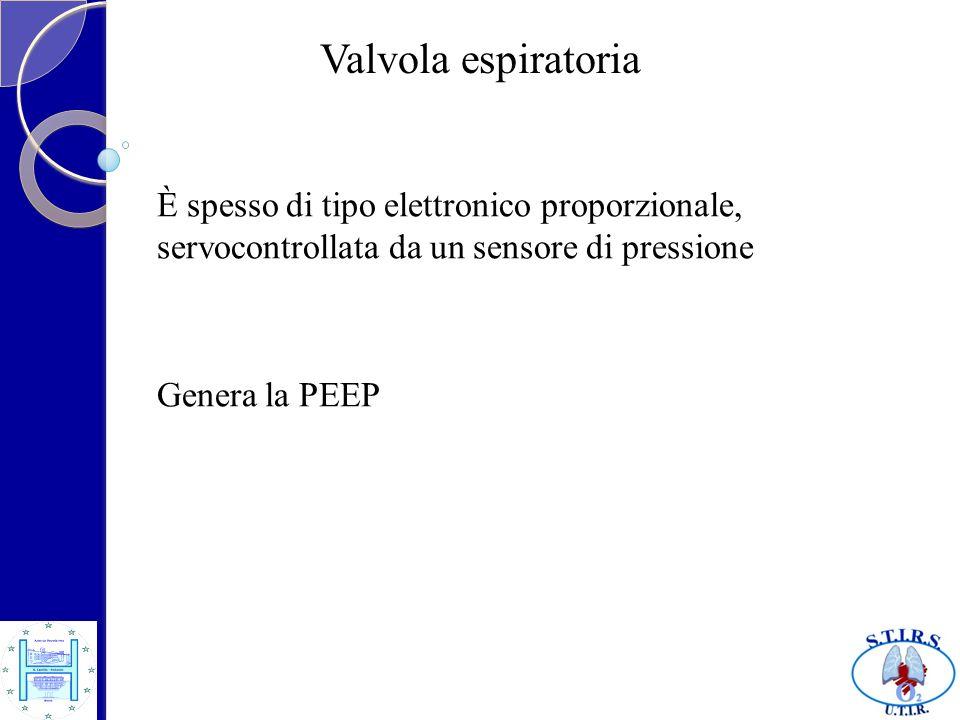 Valvola espiratoria È spesso di tipo elettronico proporzionale, servocontrollata da un sensore di pressione Genera la PEEP
