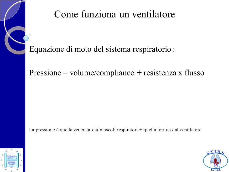 Come funziona un ventilatore Equazione di moto del sistema respiratorio : Pressione = volume/compliance + resistenza x flusso La pressione è quella ge