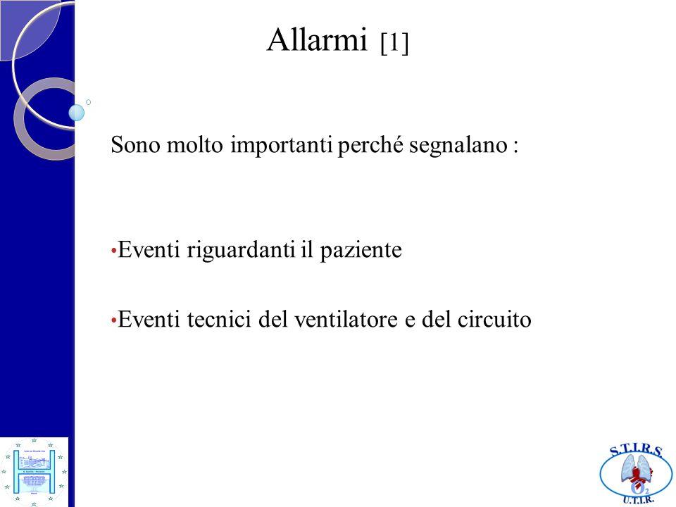 Allarmi [1] Sono molto importanti perché segnalano : Eventi riguardanti il paziente Eventi tecnici del ventilatore e del circuito