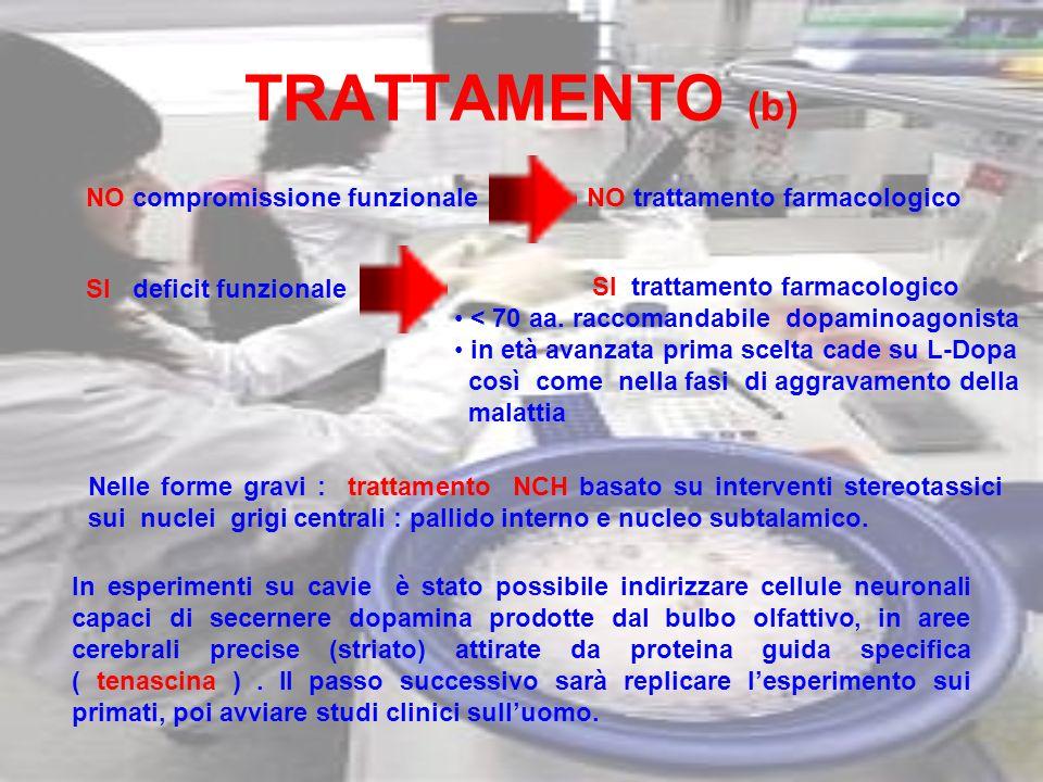 TRATTAMENTO (b) NO compromissione funzionaleNO trattamento farmacologico SI deficit funzionale SI trattamento farmacologico < 70 aa. raccomandabile do