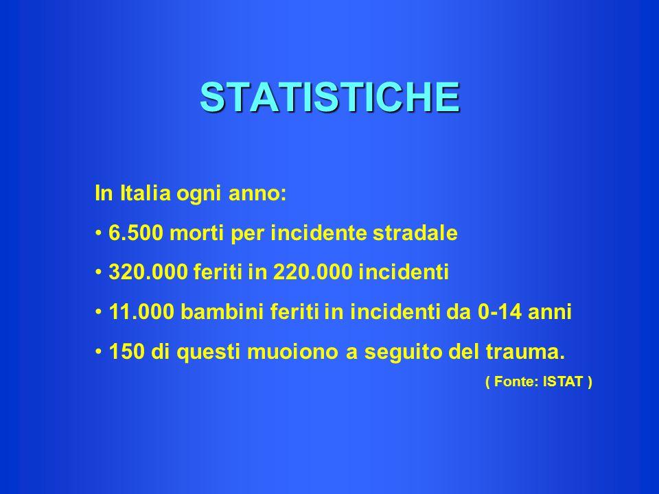 STATISTICHE In Italia ogni anno: 6.500 morti per incidente stradale 320.000 feriti in 220.000 incidenti 11.000 bambini feriti in incidenti da 0-14 ann