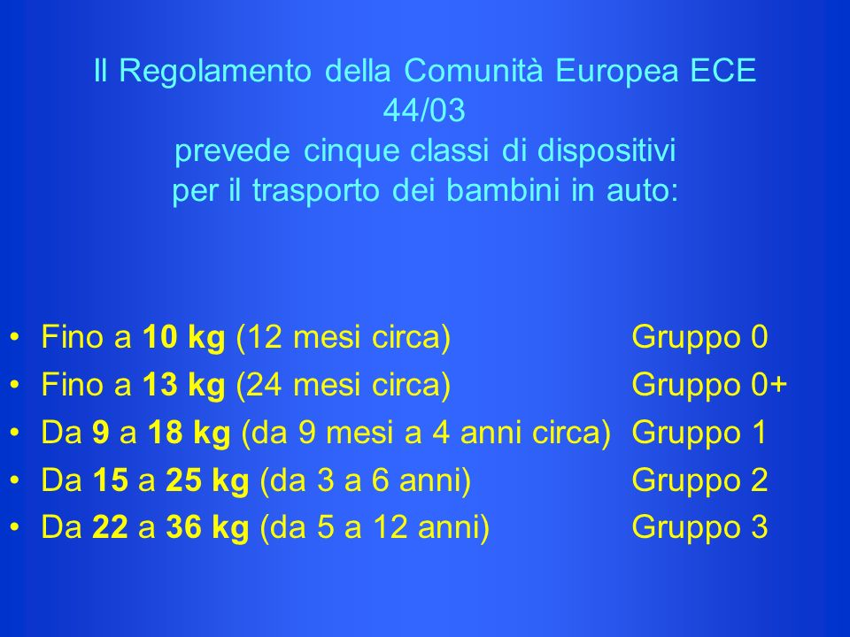 Il Regolamento della Comunità Europea ECE 44/03 prevede cinque classi di dispositivi per il trasporto dei bambini in auto: Fino a 10 kg (12 mesi circa