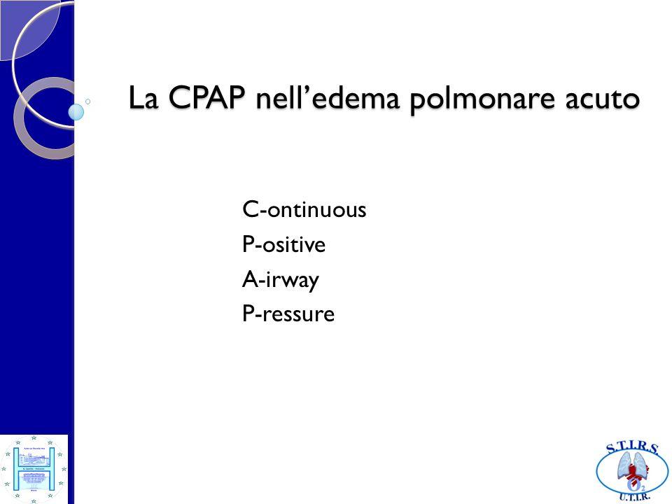 Aumento di pressione intratoracica Riduzione della congestione polmonare Aumento della CFR dei polmoni Effetto finale : Riduzione del lavoro respiratorio Miglior ossigenazione emoglobinica CPAP : effetti nellEPA [2]