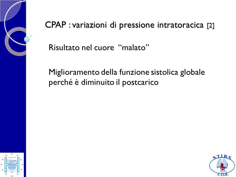CPAP : variazioni di pressione intratoracica [2] Risultato nel cuore malato Miglioramento della funzione sistolica globale perché è diminuito il postc