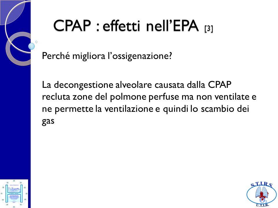 CPAP : effetti nellEPA [3] Perché migliora lossigenazione? La decongestione alveolare causata dalla CPAP recluta zone del polmone perfuse ma non venti
