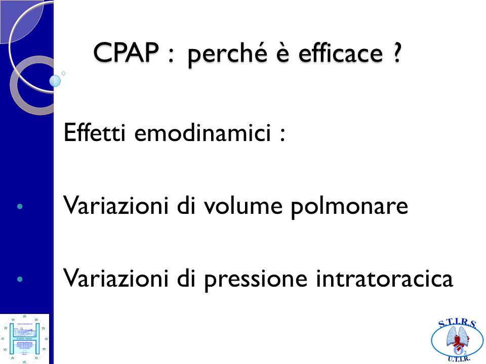 CPAP : perché è efficace ? Effetti emodinamici : Variazioni di volume polmonare Variazioni di pressione intratoracica