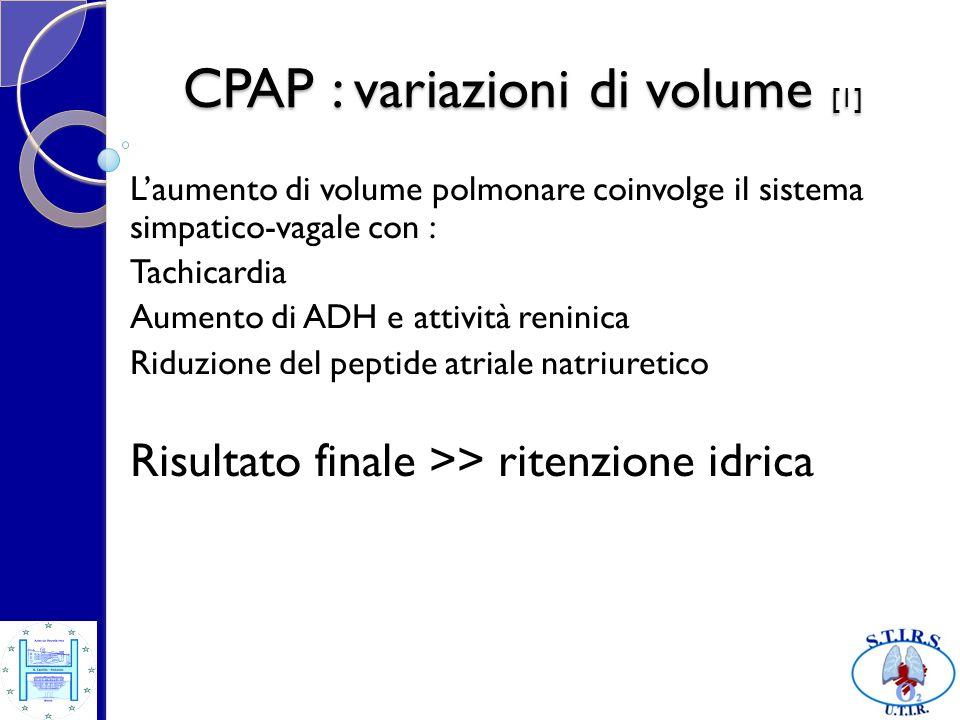 CPAP : variazioni di volume [1] Laumento di volume polmonare coinvolge il sistema simpatico-vagale con : Tachicardia Aumento di ADH e attività reninic