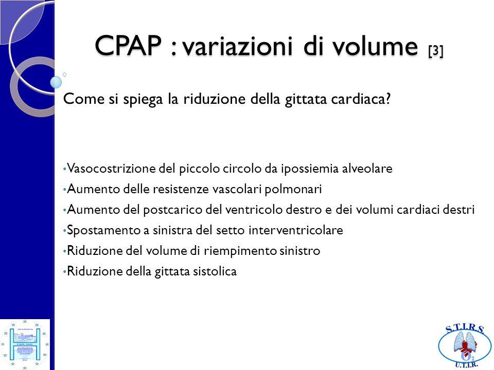 CPAP : variazioni di volume [4] Distensione del parenchima polmonare Spostamento del diaframma verso laddome Espansione della gabbia toracica Compressione del cuore Riduzione del precarico del ventricolo sinistro Riduzione della gittata sistolica