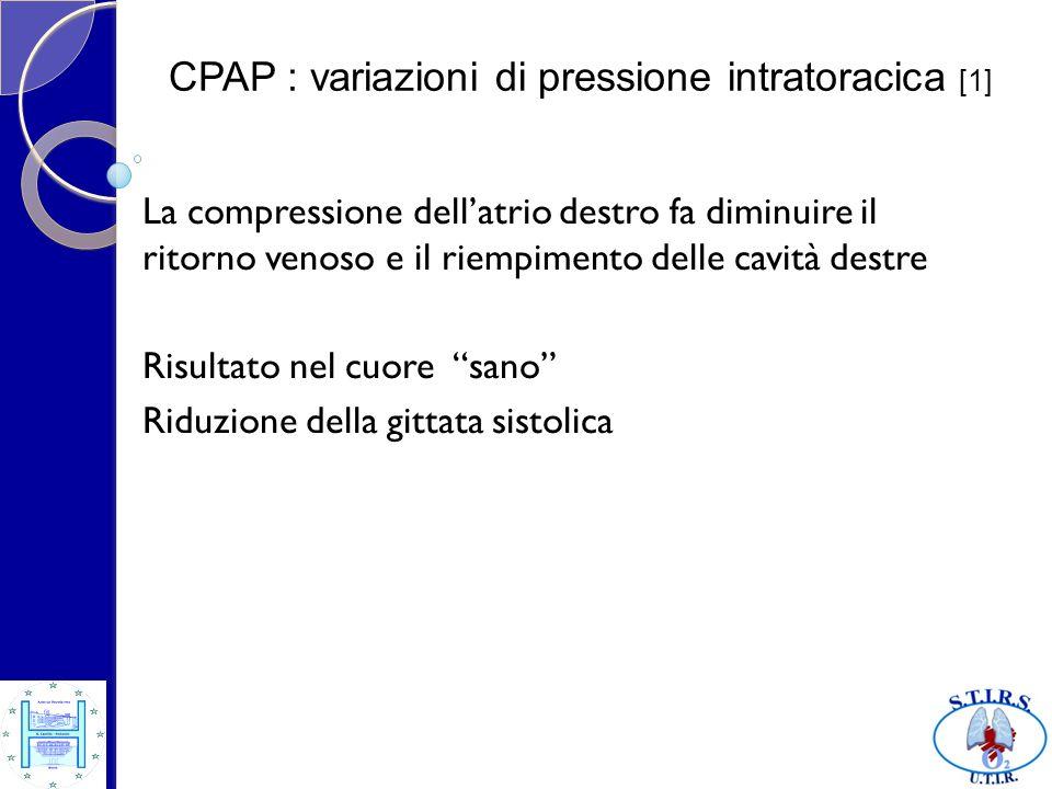 CPAP : variazioni di pressione intratoracica [2] Risultato nel cuore malato Miglioramento della funzione sistolica globale perché è diminuito il postcarico