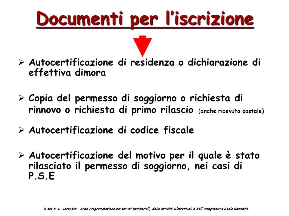 Documenti per liscrizione Autocertificazione di residenza o dichiarazione di effettiva dimora Copia del permesso di soggiorno o richiesta di rinnovo o