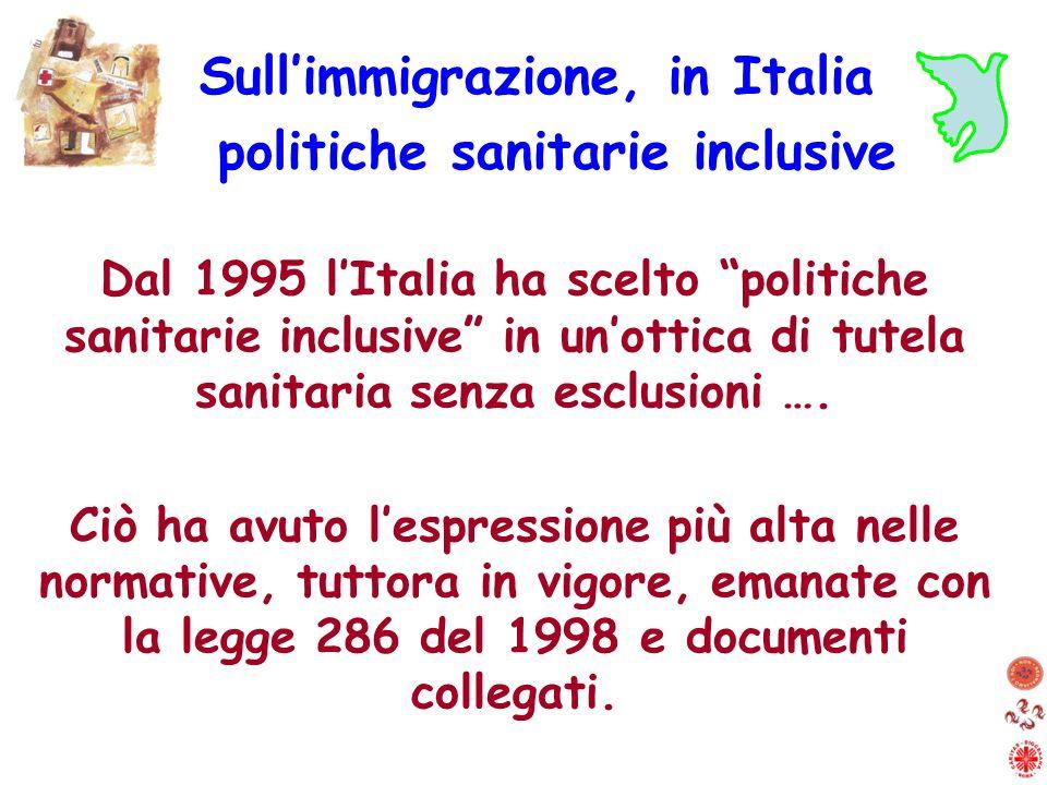 Dal 1995 lItalia ha scelto politiche sanitarie inclusive in unottica di tutela sanitaria senza esclusioni …. Ciò ha avuto lespressione più alta nelle