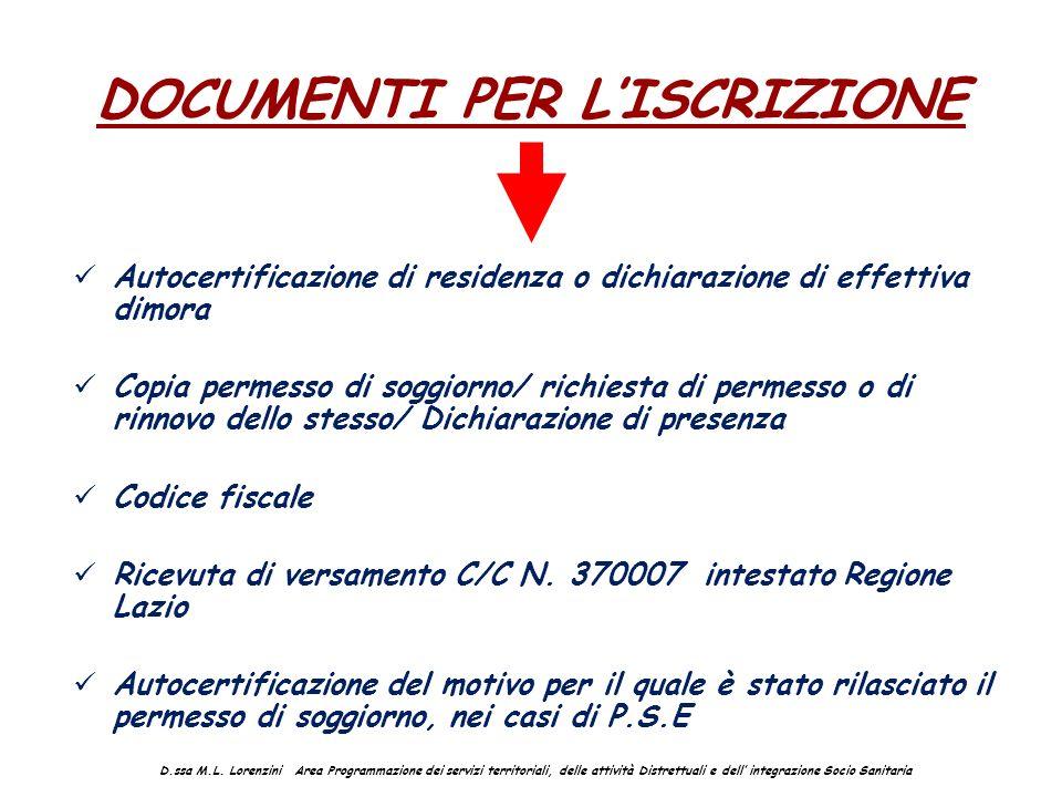 DOCUMENTI PER LISCRIZIONE Autocertificazione di residenza o dichiarazione di effettiva dimora Copia permesso di soggiorno/ richiesta di permesso o di