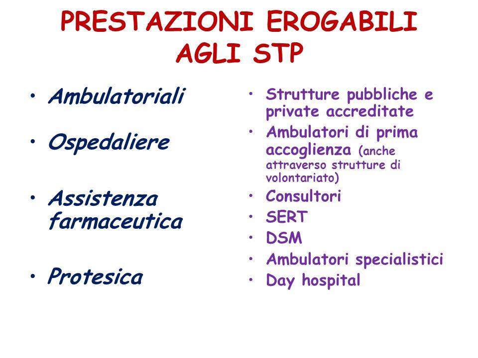 PRESTAZIONI EROGABILI AGLI STP Ambulatoriali Ospedaliere Assistenza farmaceutica Protesica Strutture pubbliche e private accreditate Ambulatori di pri