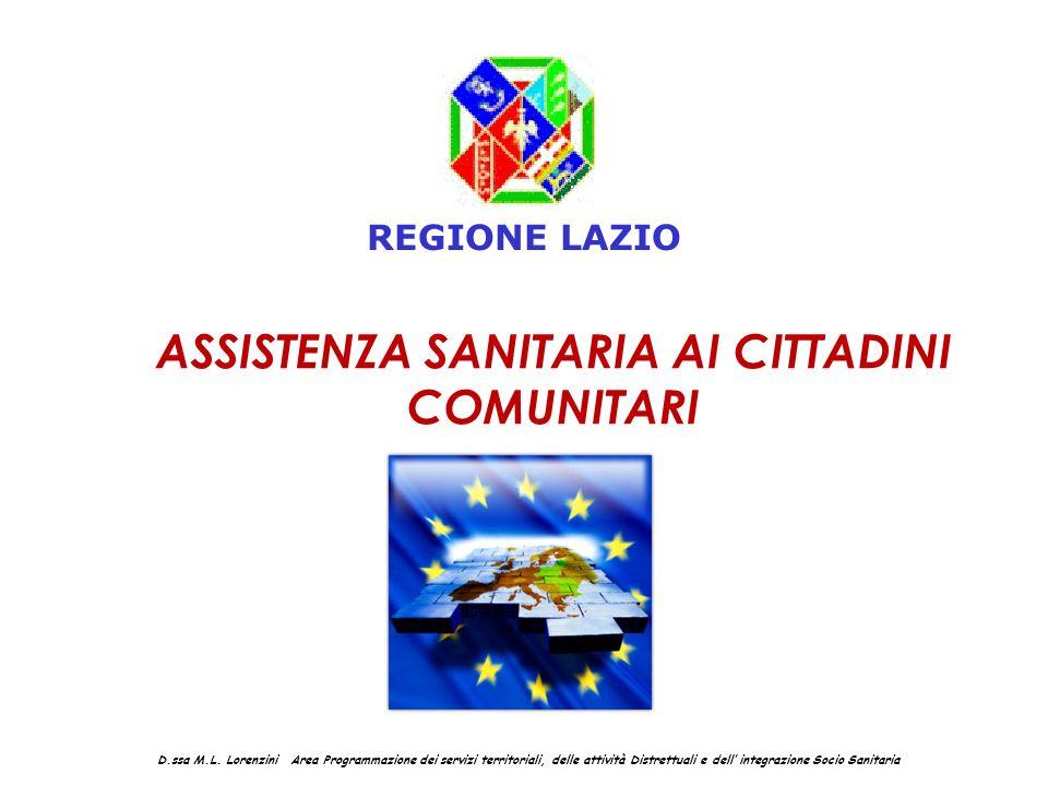 ASSISTENZA SANITARIA AI CITTADINI COMUNITARI D.ssa M.L. Lorenzini Area Programmazione dei servizi territoriali, delle attività Distrettuali e dell int