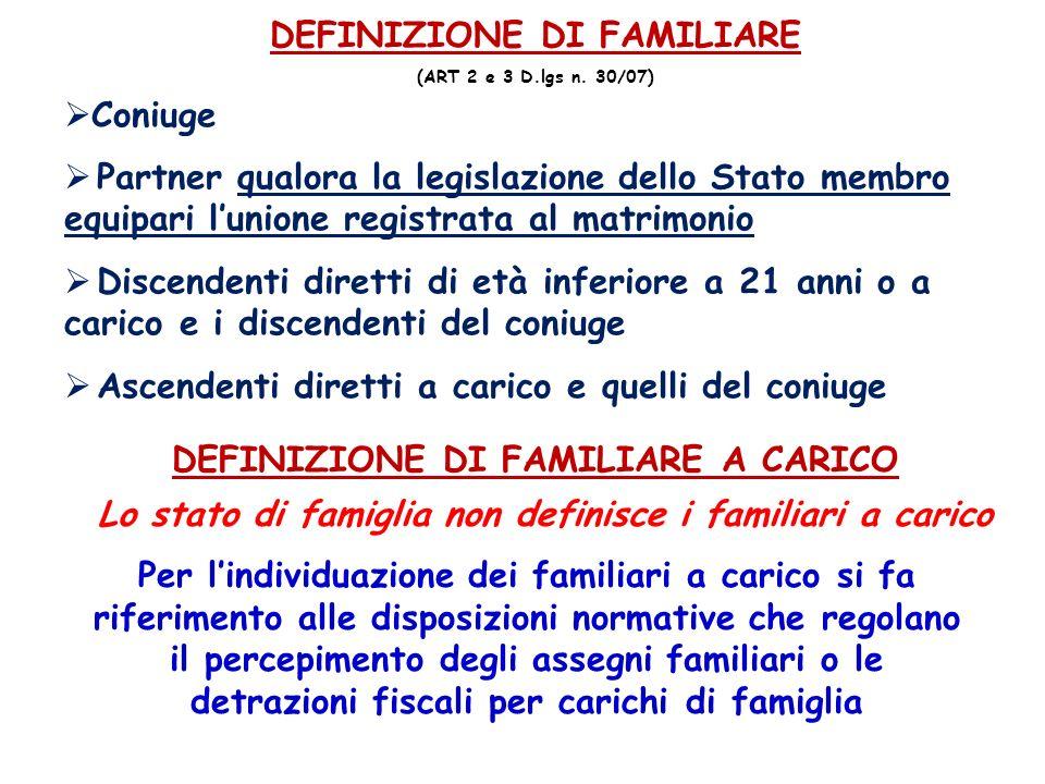 DEFINIZIONE DI FAMILIARE (ART 2 e 3 D.lgs n. 30/07) Coniuge Partner qualora la legislazione dello Stato membro equipari lunione registrata al matrimon