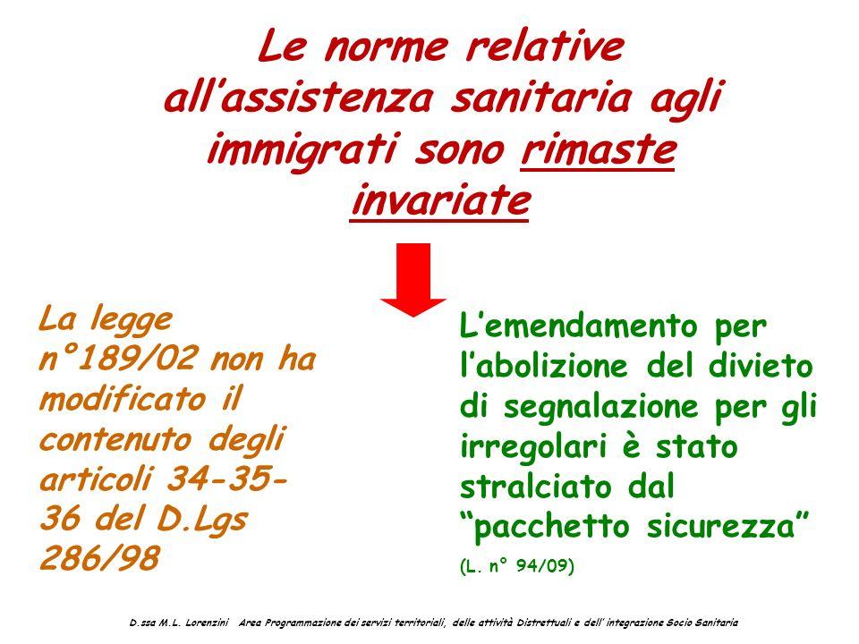 Le norme relative allassistenza sanitaria agli immigrati sono rimaste invariate La legge n°189/02 non ha modificato il contenuto degli articoli 34-35-