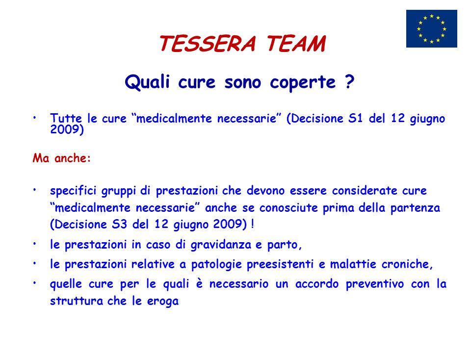 TESSERA TEAM Quali cure sono coperte ? Tutte le cure medicalmente necessarie (Decisione S1 del 12 giugno 2009) Ma anche: specifici gruppi di prestazio