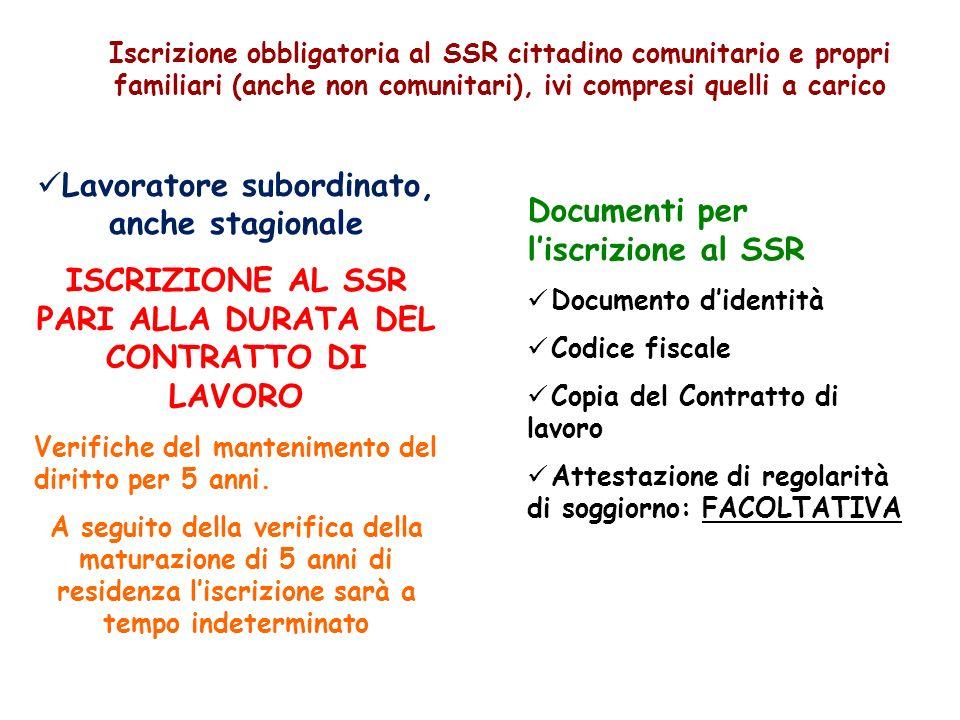 Iscrizione obbligatoria al SSR cittadino comunitario e propri familiari (anche non comunitari), ivi compresi quelli a carico Lavoratore subordinato, a