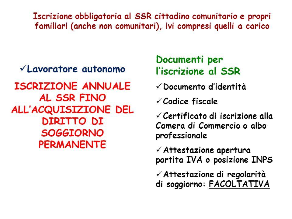 Iscrizione obbligatoria al SSR cittadino comunitario e propri familiari (anche non comunitari), ivi compresi quelli a carico Lavoratore autonomo ISCRI