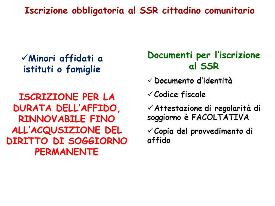 Minori affidati a istituti o famiglie Documenti per liscrizione al SSR Documento didentità Codice fiscale Attestazione di regolarità di soggiorno è FA