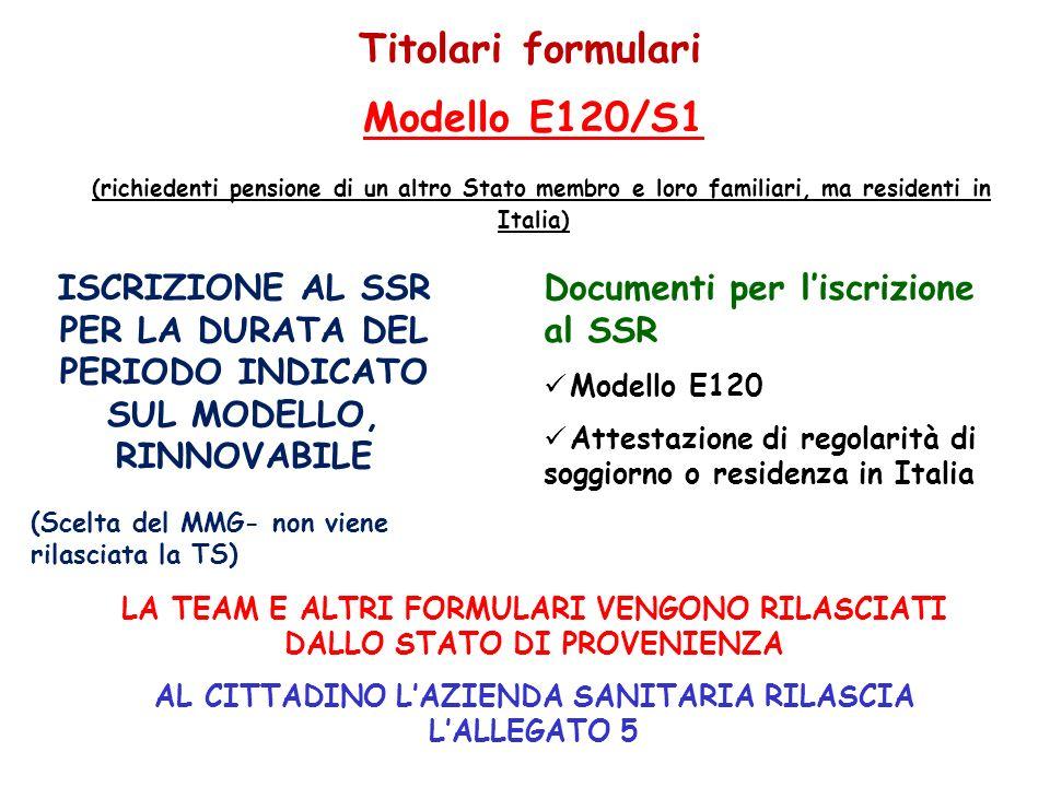 5. Titolari formulari Documenti per liscrizione al SSR Modello E120 Attestazione di regolarità di soggiorno o residenza in Italia Modello E120/S1 (ric