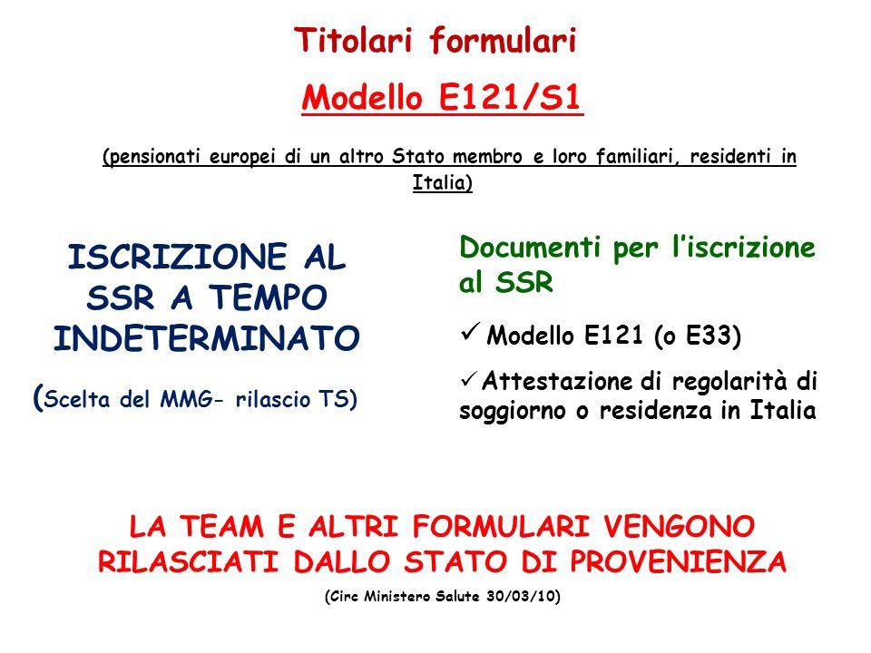 5 Titolari formulari Documenti per liscrizione al SSR Modello E121 (o E33) Attestazione di regolarità di soggiorno o residenza in Italia Modello E121/
